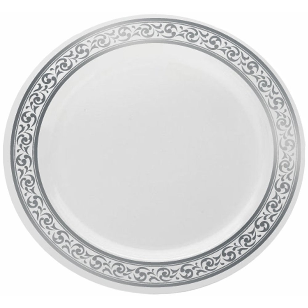 Decor Elegant Disposable Plates Dinner Plate Premium Collection 10.25 Inches White and Silver 10 Count  sc 1 st  SoapSplash & Decor Elegant Disposable Plates Dinner Plate Premium Collection ...